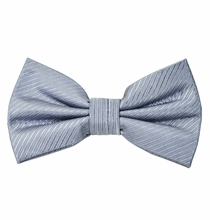 Solid Grey Silk Bow Tie with Pocket Square