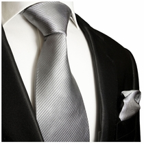 Solid Grey Silk Tie and Pocket Square by Paul Malone