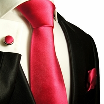 Solid Hot Pink Paul Malone Silk Tie Set (505CH)