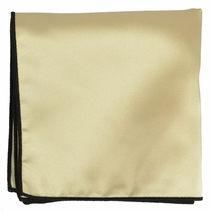 Solid Lambs Wool Beige Pocket Square with Black Border
