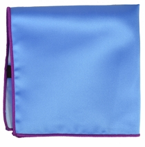 Solid Light Blue Pocket Square with Hot Pink Border
