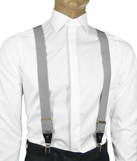 Solid Light Grey Men's Suspenders