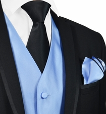 Solid Lite Blue Mens Tuxedo Vest, Tie and Black Trim Pocket Square