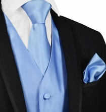 Solid Lite Blue Mens Tuxedo Vest, Tie and Pocket Square
