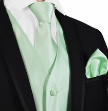 Solid Mint Green Mens Tuxedo Vest, Tie and Pocket Square