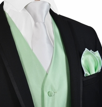 Solid Mint Green Mens Tuxedo Vest, Tie and White Trim Pocket Square
