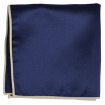 Solid Navy Pocket Square with Champagne Border
