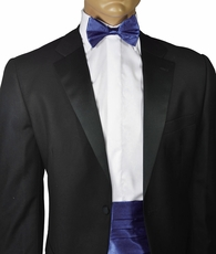 Solid Navy Silk Cummerbund and Bow Tie Set