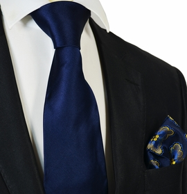 Solid Navy Steven Land Big Knot Silk Tie and Pocket Square