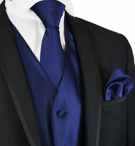 Solid Navy Suit Vest, Tie and Pocket Square