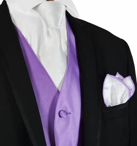 Solid Purple and White Mens Tuxedo Vest Set