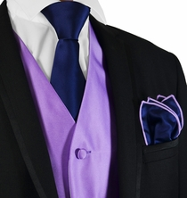 Solid Purple Mens Tuxedo Vest, Tie and Contrast Pocket Square