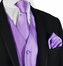 Solid Purple Mens Tuxedo Vest, Tie and Pocket Square