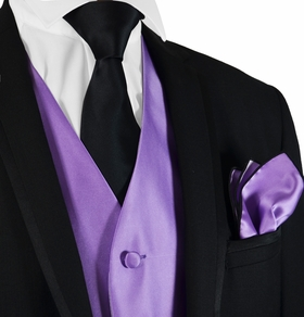 Solid Purple Mens Tuxedo Vest, Tie and Rolled Pocket Square