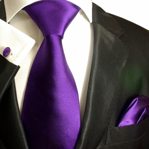 Solid Purple Paul Malone Silk Necktie Set (941CH)