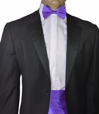 Solid Purple Silk Cummerbund and Bow Tie Set