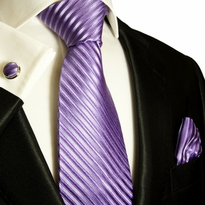 Purple Silk Necktie Set by Paul Malone