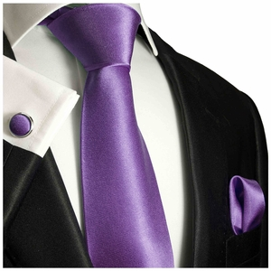 Solid Purple Silk Tie Set by Paul Malone