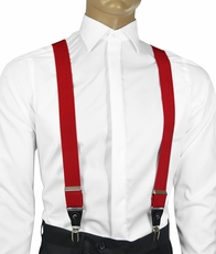 Solid Red Men's Suspenders