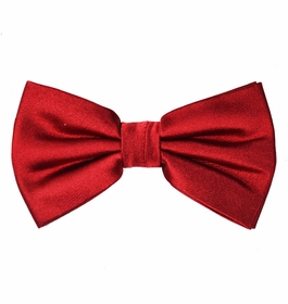 Solid Red Silk Bow Tie with Pocket Square