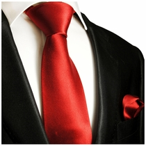 Solid Red Silk Tie and Pocket Square by Paul Malone