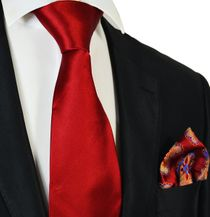 Solid Red Steven Land Big Knot Silk Tie and Pocket Square