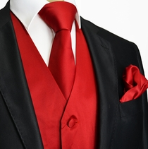 Solid Red Tuxedo Vest and Accessories