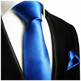 Solid Royal Blue Necktie and Pocket Square Set (Q100-EE)