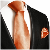 Solid Salmon Necktie and Pocket Square (Q100-II)