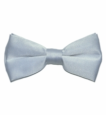 Solid Silver Bow Tie . Pre-Tied (BT10-Q)