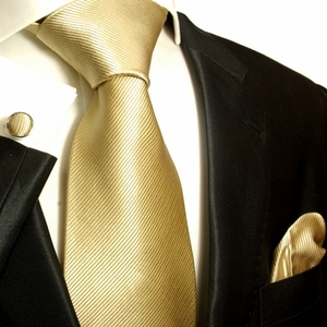 Solid Tan Paul Malone Silk Tie Set (804CH)