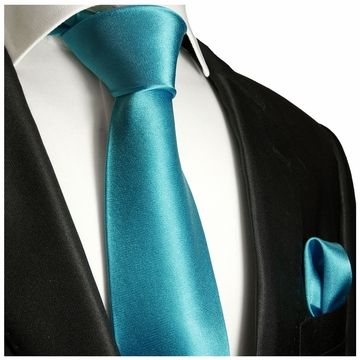 633e264039d8 Solid Teal Necktie and Pocket Square Set (Q100-BB)