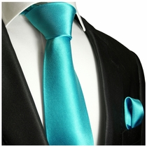Solid Turquoise Necktie and Pocket Square (Q100-U)