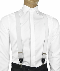 Solid White Men's Suspenders