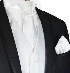 Solid White Mens Tuxedo Vest, Tie and Pocket Square