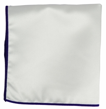 Solid White Pocket Square with Navy Border