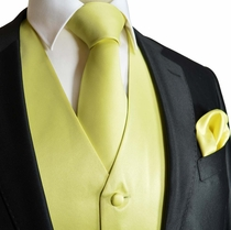 Solid Yellow Mens Wedding Vest with Accessories