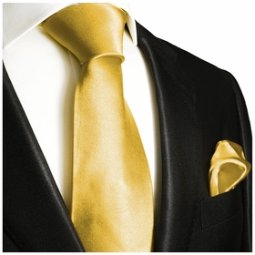 Solid Yellow Necktie and Pocket Square Set (Q100-M)
