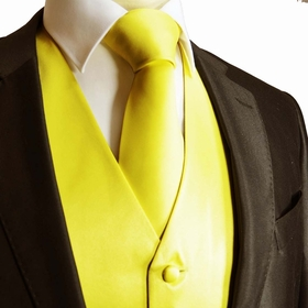 Solid Yellow Tuxedo Vest and Necktie Set