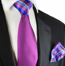 Sparkling Grape Tie and Pocket Square Set by Paul Malone