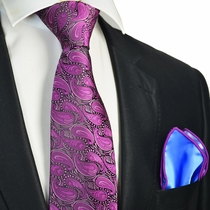 Sparkling Grape Tie with Contrast Rolled Pocket Square