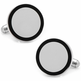 Stainless Steel Round Engravable Framed Cufflinks