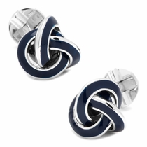Sterling Blue Enamel Knot Cufflinks