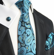 Storm Blue Paisley Silk Tie and Accessories by Paul Malone