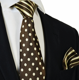 Striped Brown Steven Land Contrast Knot Silk Tie and Pocket Square