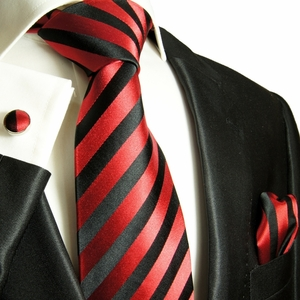 Striped Paul Malone Silk Tie Set - Red & Black (452CH)