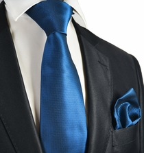Strong Blue Checked Necktie and Pocket Square