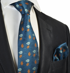 Strong Blue Tie and Pocket Square Set