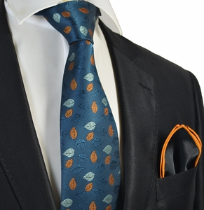 Strong Blue Tie with Rolled Pocket Square Set