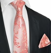Sugar Coral Tie and Pocket Square Set